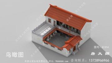 农村两层中式四合院别墅设计图