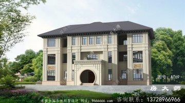 乡村三层欧式别墅设计,占地24