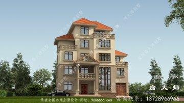 农村欧式五层别墅设计图,外形清