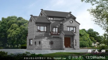新中式农村自建别墅设计效果图