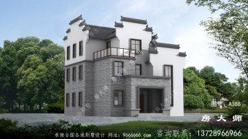 三层中式徽派别墅设计效果图