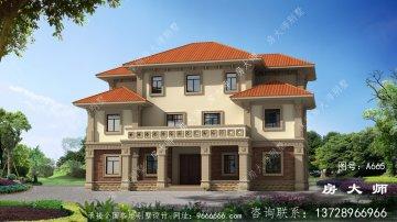三层新中式元素别墅外观