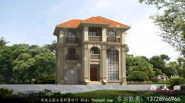 欧式风格三层别墅建筑图纸及效果