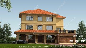 农村美式风格三层别墅设计效果图