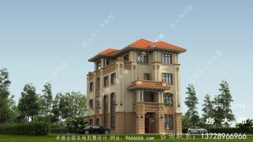 农村简欧三层别墅自建房屋的设计