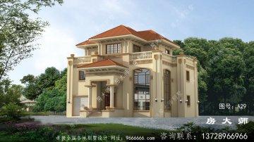 欧式三层住宅别墅设计图,外观图
