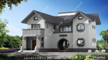 新中式别致二层别墅设计