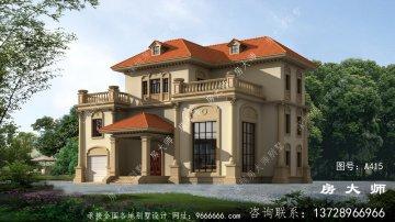 农村欧式风格实用三层别墅效果图