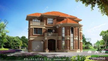 农村复式三层欧式别墅设计效果图