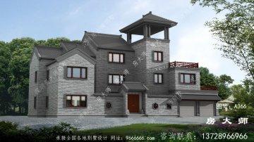 中式三层乡村别墅设计图