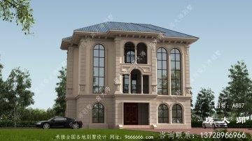 简欧清新三层复式别墅外观效果图