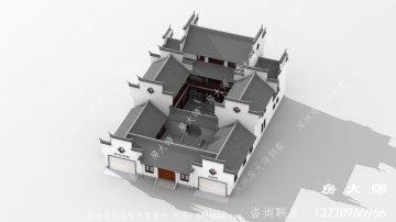 中式三层别墅的设计图,