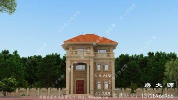 三层法式风格别墅外观效果图