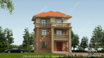 欧式独特设计三层别墅效果图