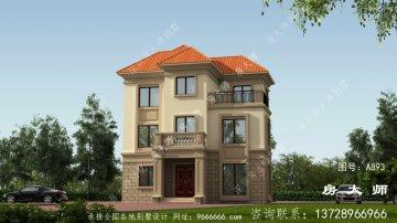 91平三层乡村房子设计图,含外型