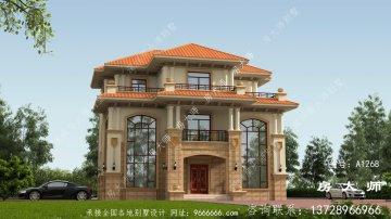 欧式复式三层农村别墅设计图