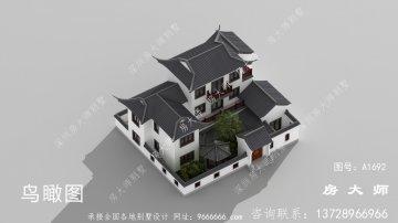 乡村三层中式院子别墅设计效果图