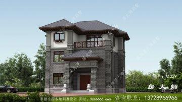 素雅别致中式三层别墅外观设计效果图