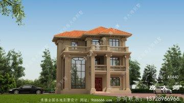 高端复式三层欧式别墅外观效果图