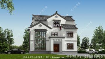 新中式复式三层别墅设计图