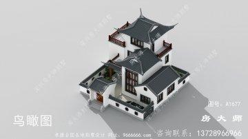 新中式三层苏式园林别墅效果图
