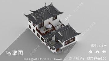 苏式园林两层新中式别墅外观效果图