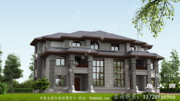 新农村三层住宅设计简单时尚,中式风格