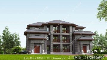 新农村中式三层住宅设计图,外观简单时