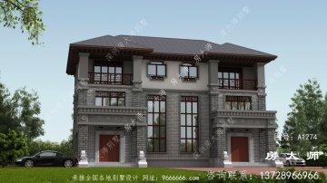 双拼中式三层住宅设计图,外观简单时尚
