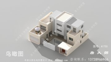 带院子现代风格三层别墅