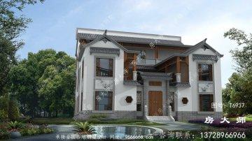 新中式三层四合院别墅外观效果图
