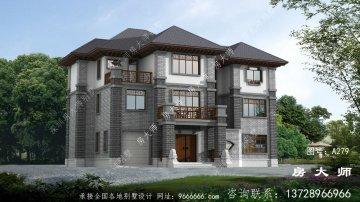 新中式高档三层农村别墅设计图纸