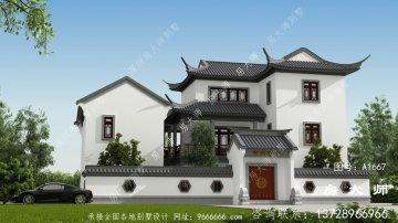 中式三层别墅的设计图新颖美观。