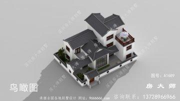 带庭院的中式别墅的设计图,外观新颖美