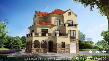 农村西班牙风格三层别墅设计