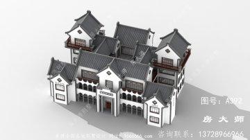 中国风元素的新中式小别墅效果图