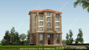 复式大型欧式农村六层别墅设计图