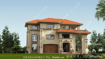 欧式三层复式别墅房型平面设计图