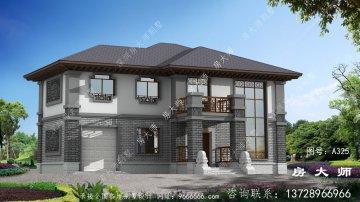 新农村别墅的三层半设计外观简单清新。