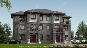 农村新中式三层双拼别墅设计图纸