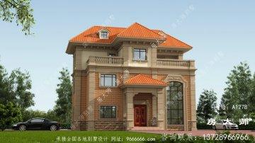 最新款典雅欧式三层小别墅图纸及