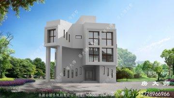 带车库和大露台的自建农村三层别墅设计