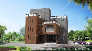 农村四楼别墅自营设计图,有车库和大露