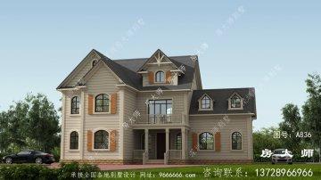 新农村三层别墅的设计图,外观效果图很