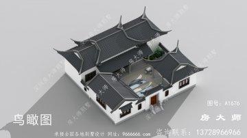 农村单层新中式四合院别墅设计效