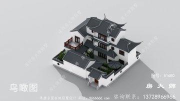 乡村新中式三层苏式园林别墅效果