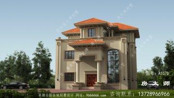 带阳台的三层住宅建筑设计及全套