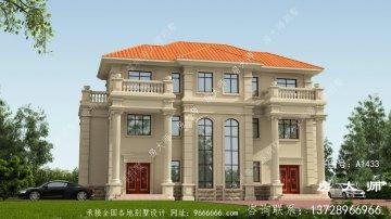 豪华法式风格双拼别墅设计图
