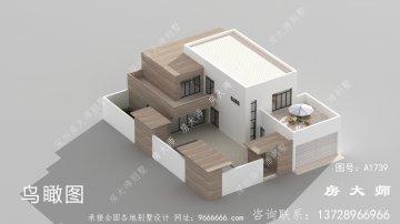乡村现代平顶两层别墅的设计图宏