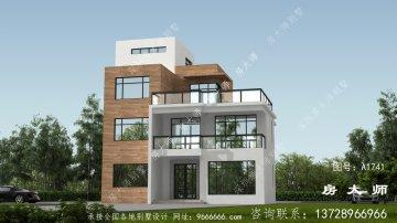 农村平屋顶四楼别墅的设